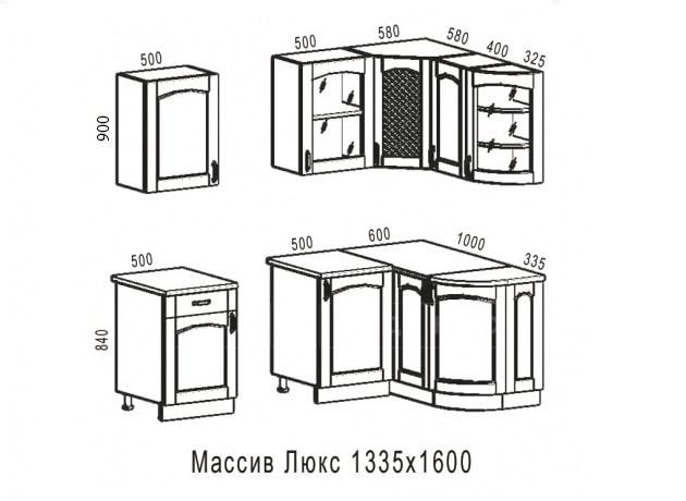 Кухня угловая Массив-Люкс 1335х1600 фото 6 | интернет-магазин Складно