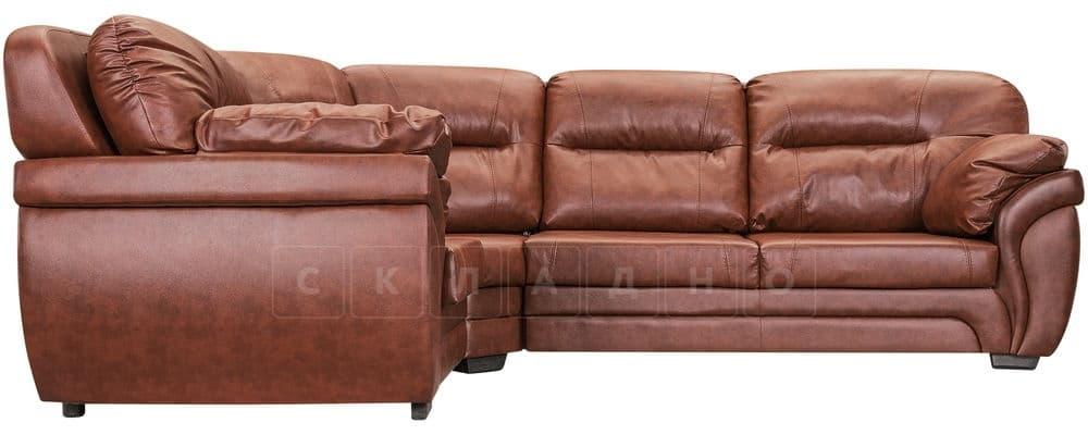 Диван угловой Бристоль кожаный коричневого цвета левый угол фото 2 | интернет-магазин Складно