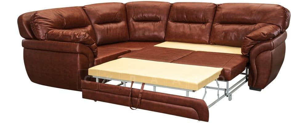 Диван угловой Бристоль кожаный коричневого цвета левый угол фото 4 | интернет-магазин Складно