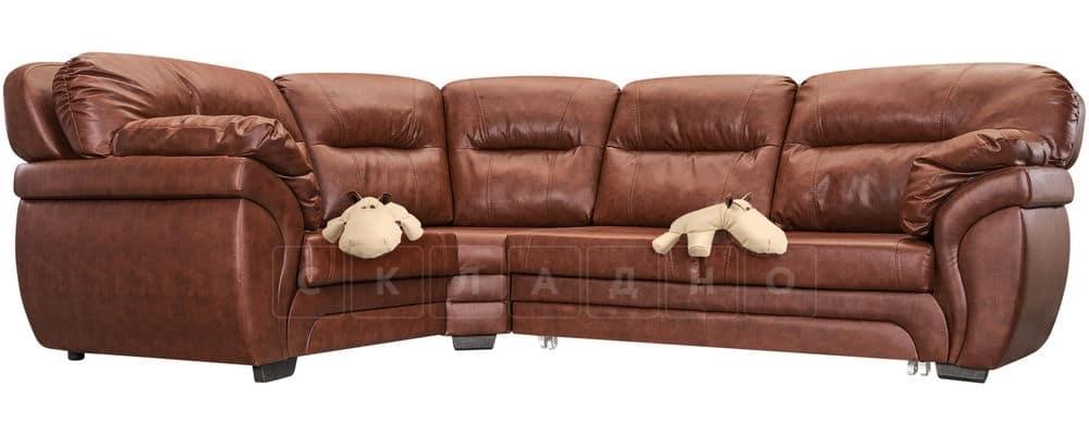 Диван угловой Бристоль кожаный коричневого цвета левый угол фото 5 | интернет-магазин Складно