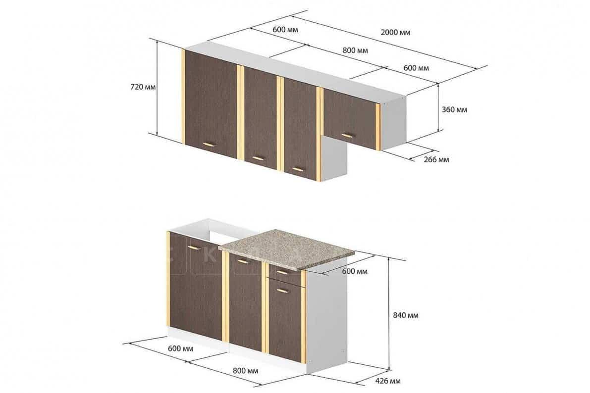 Кухонный гарнитур Бланка 2,0м цвета венге фото 2 | интернет-магазин Складно