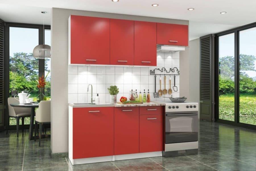 Кухонный гарнитур Бланка 2,0м красный чили фото | интернет-магазин Складно