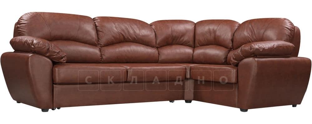 Диван угловой Эвита кожаный коричневый правый угол фото 1 | интернет-магазин Складно