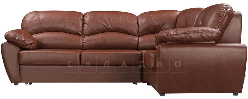 Диван угловой Эвита кожаный коричневый правый угол фото 2 | интернет-магазин Складно