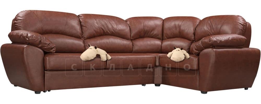Диван угловой Эвита кожаный коричневый правый угол фото 4 | интернет-магазин Складно