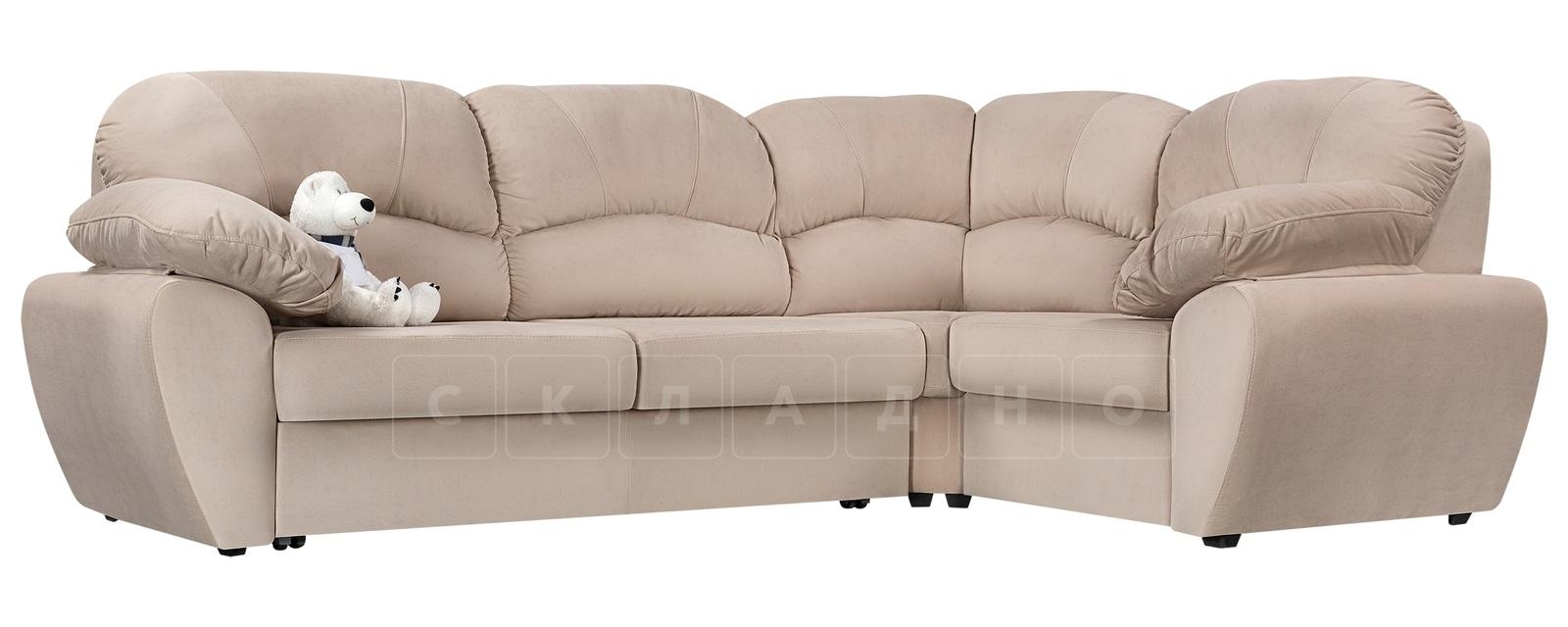 Угловой диван Эвита велюр бежевый правый угол фото 1 | интернет-магазин Складно