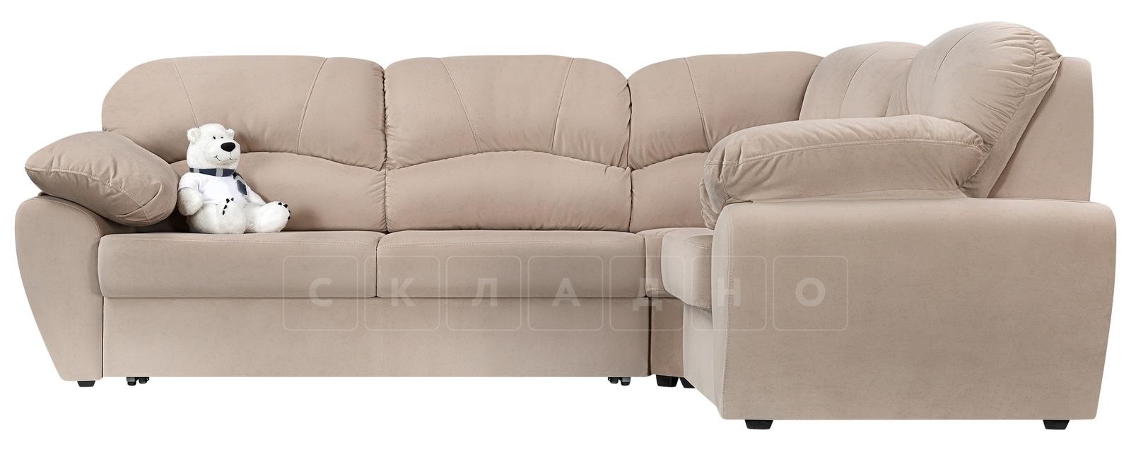 Угловой диван Эвита велюр бежевый правый угол фото 2 | интернет-магазин Складно