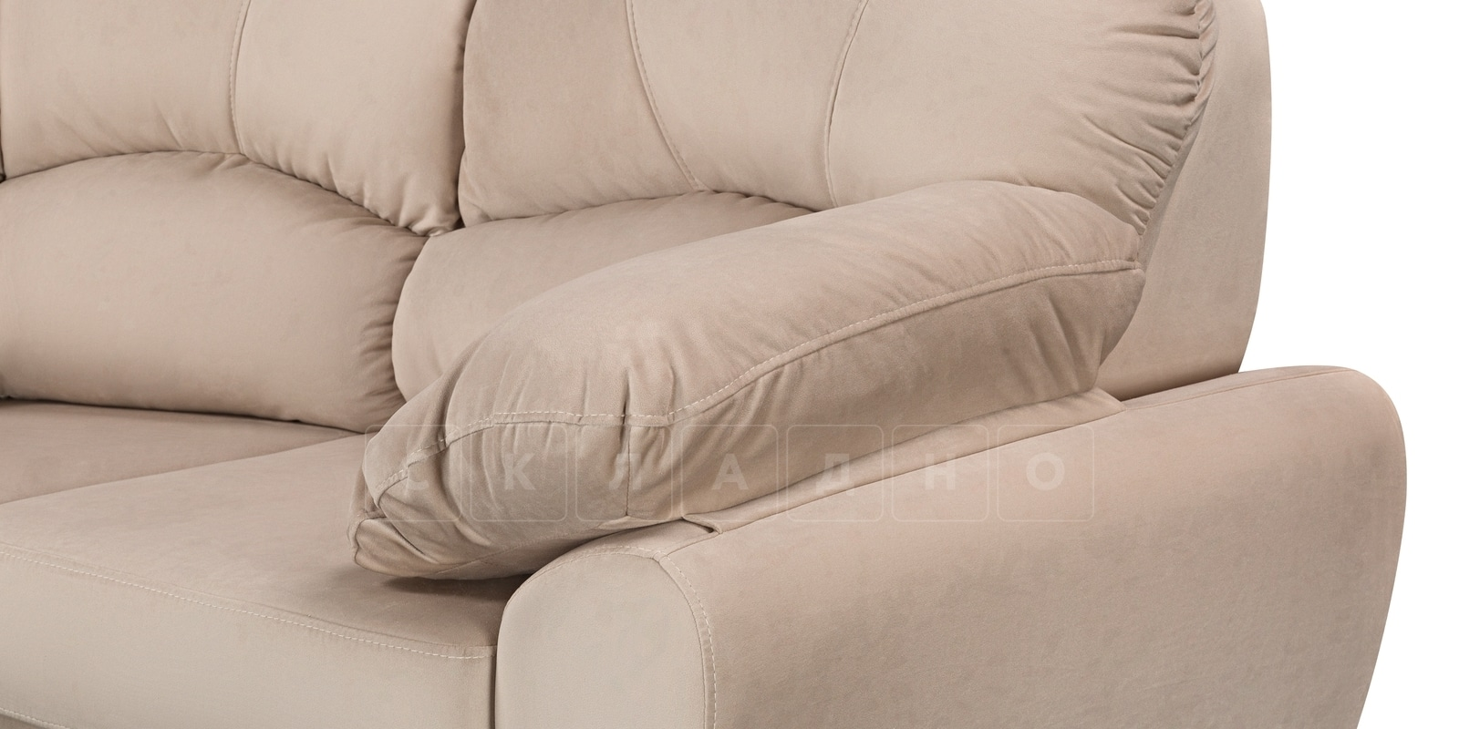 Угловой диван Эвита велюр бежевый правый угол фото 5 | интернет-магазин Складно