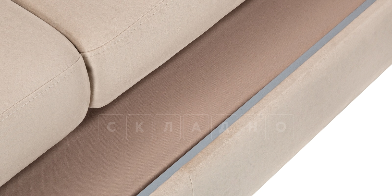 Угловой диван Эвита велюр бежевый правый угол фото 7 | интернет-магазин Складно