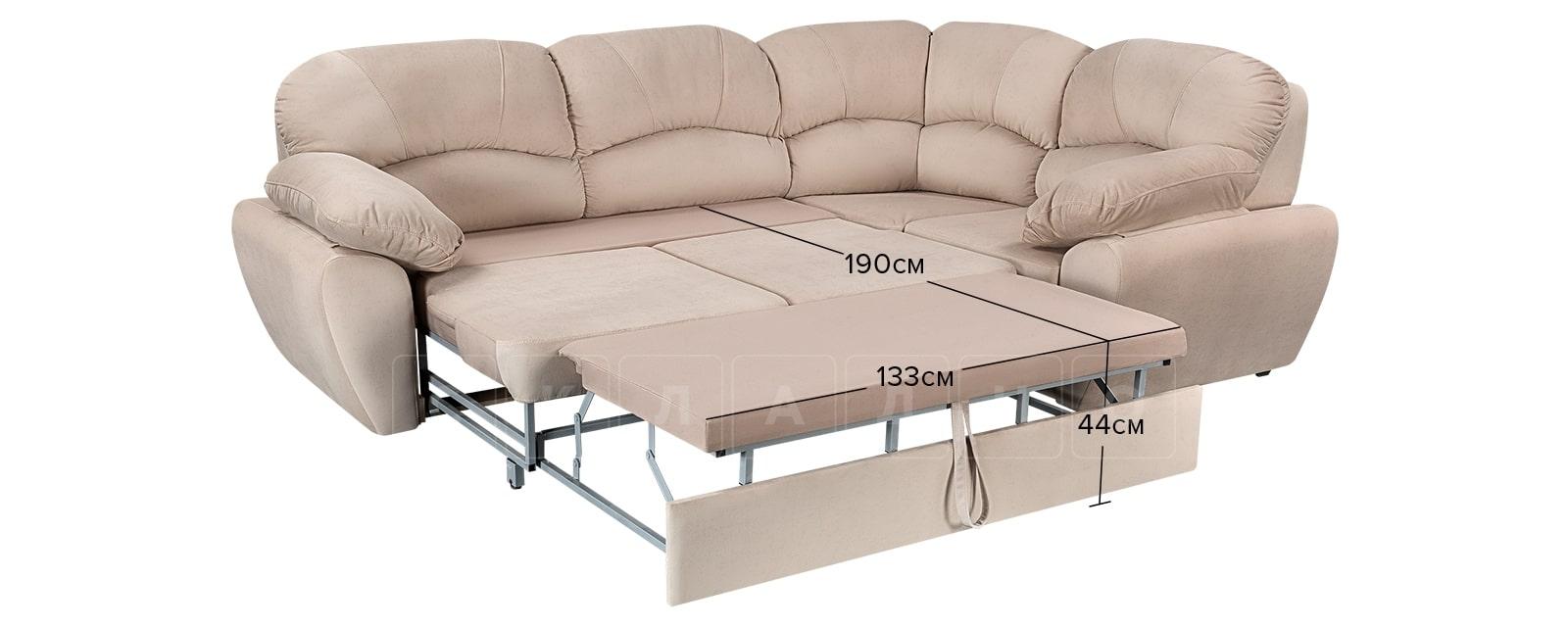Угловой диван Эвита велюр бежевый правый угол фото 10 | интернет-магазин Складно