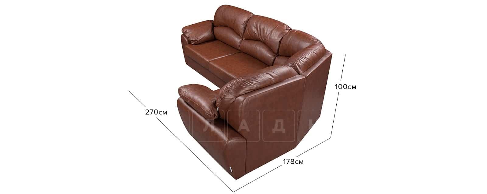 Диван угловой Эвита кожаный коричневый правый угол фото 12 | интернет-магазин Складно
