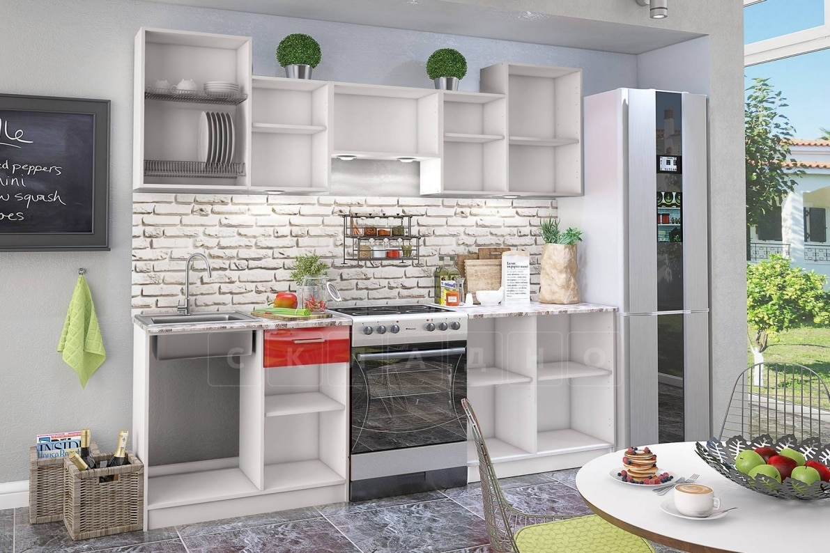 Кухонный гарнитур Бланка мдф 2,4 м красного цвета фото 2 | интернет-магазин Складно