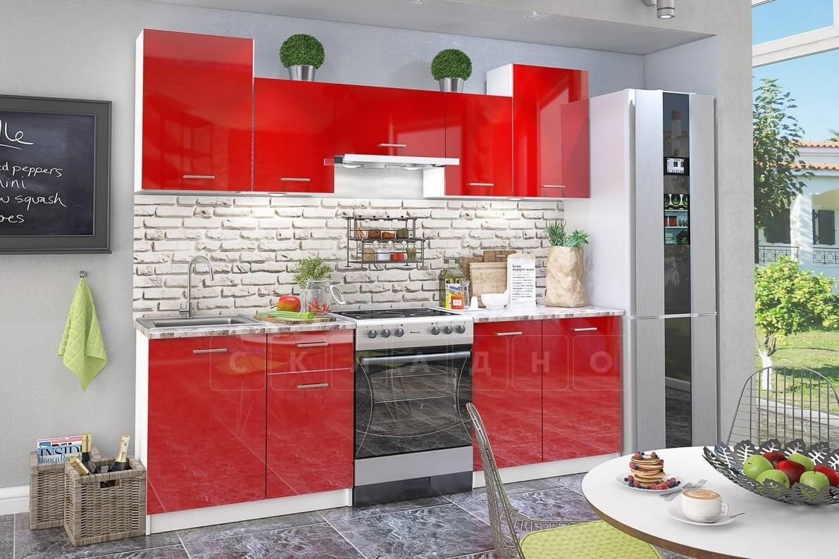 Кухонный гарнитур Бланка мдф 2,4 м красного цвета фото 1 | интернет-магазин Складно