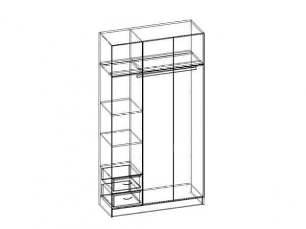 Шкаф трехстворчатый 130 см с 2-я ящиками фото 3 | интернет-магазин Складно