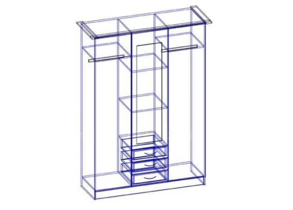 Шкаф трехстворчатый 150 см с 3-я ящиками фото 2 | интернет-магазин Складно