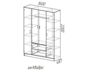 Шкаф распашной Фиеста с 2-я ящиками 160 см 9840 рублей, фото 3 | интернет-магазин Складно