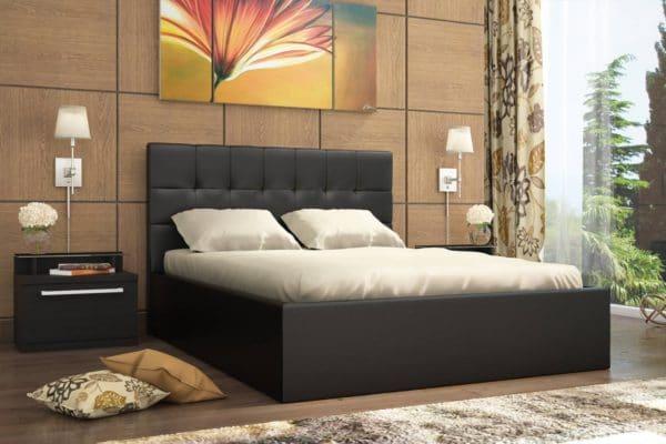Кровать с подъемным механизмом Находка 140 см черного цвета фото | интернет-магазин Складно