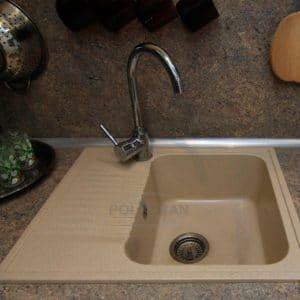 Кухонная мойка POLYGRAN F-07 из искусственного камня 61х50 см с одной чашей 5400 рублей, фото 12 | интернет-магазин Складно