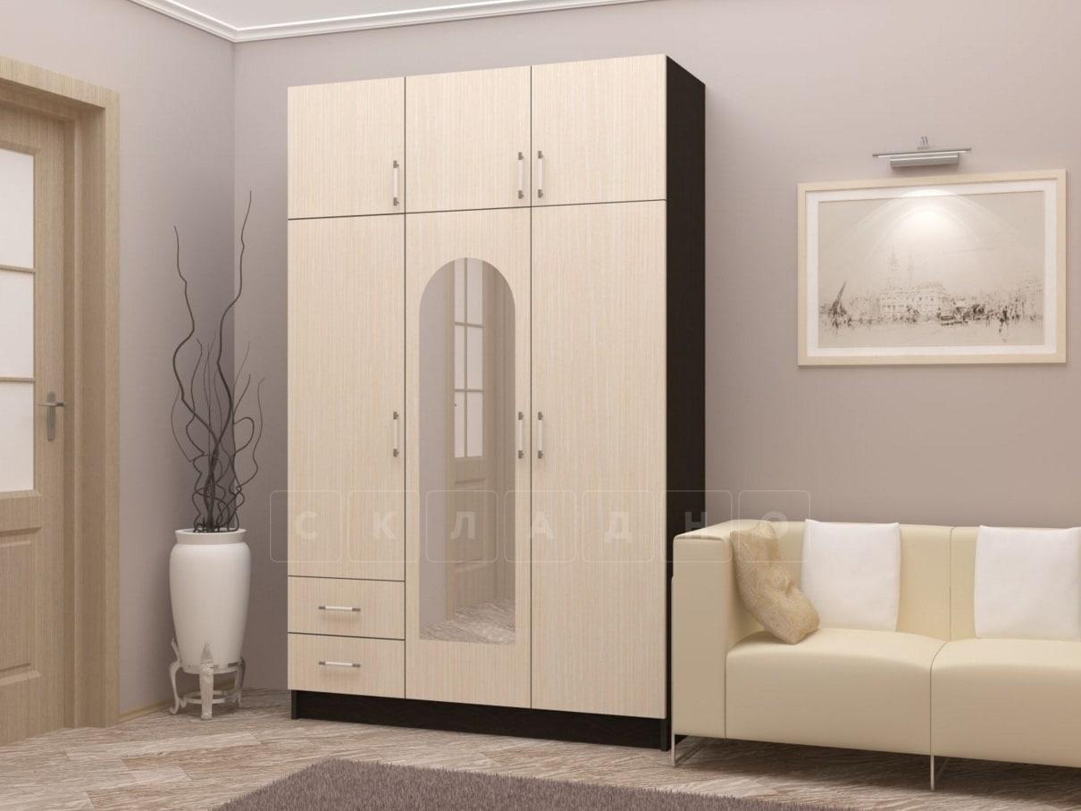 Шкаф трехстворчатый 130 см с 2-я ящиками фото 1 | интернет-магазин Складно