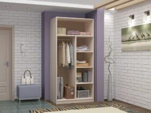 Шкаф двухстворчатый 900мм со штангой и полками фото 2 | интернет-магазин Складно