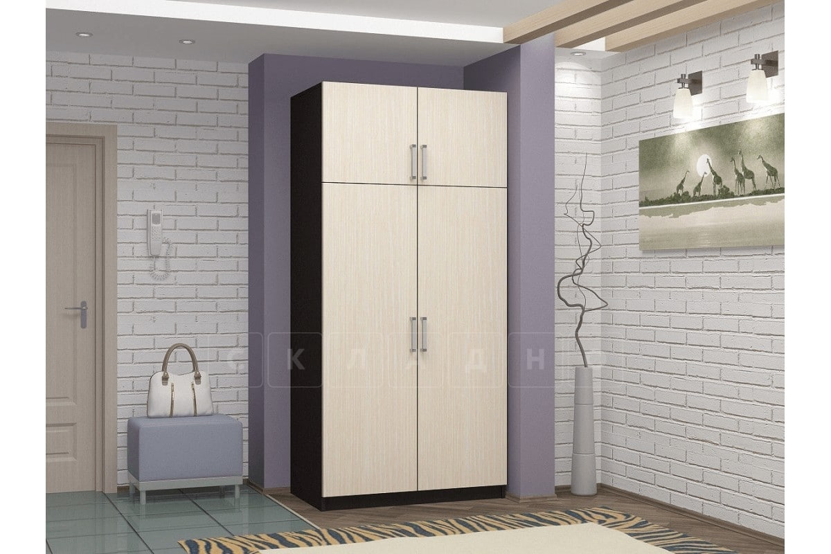Шкаф двухстворчатый 900мм со штангой и полками фото 3 | интернет-магазин Складно