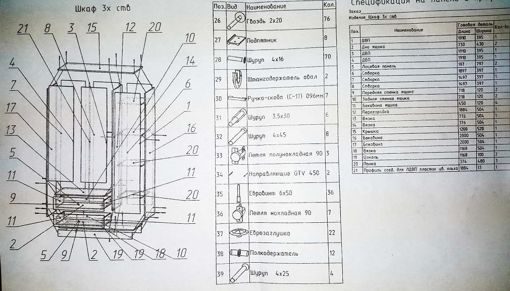 Шкаф трехстворчатый с большими ящиками 120 см фото 2 | интернет-магазин Складно