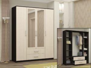 Шкаф распашной Фиеста с 2-я ящиками 160 см 9840 рублей, фото 2 | интернет-магазин Складно