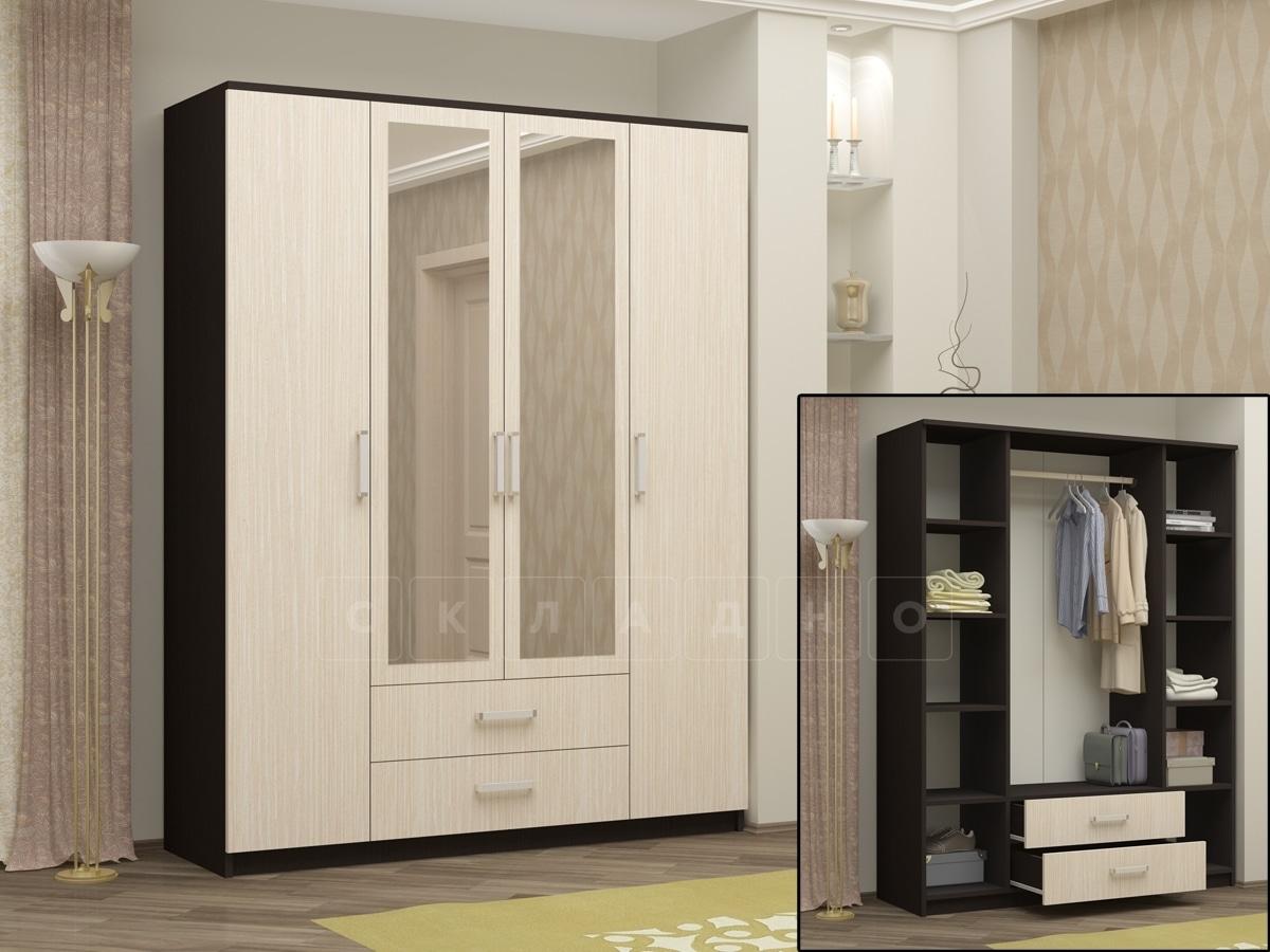 Шкаф распашной Фиеста с 2-я ящиками 160 см фото 2 | интернет-магазин Складно