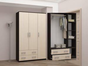Шкаф трехстворчатый с большими ящиками 120 см фото | интернет-магазин Складно