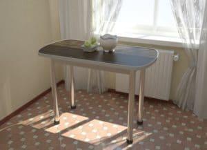 Стол обеденный на хромированных ножках столешница 28мм фото | интернет-магазин Складно