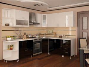 Кухня угловая Техно 1,95х2,05 м черная с белым фото | интернет-магазин Складно