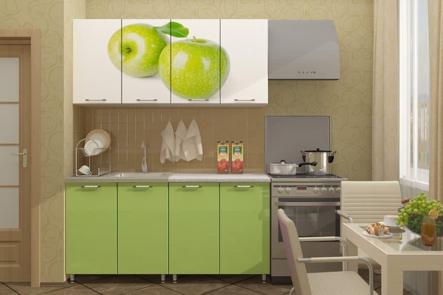 Кухня с фотопечатью Яблоко 160см фото | интернет-магазин Складно