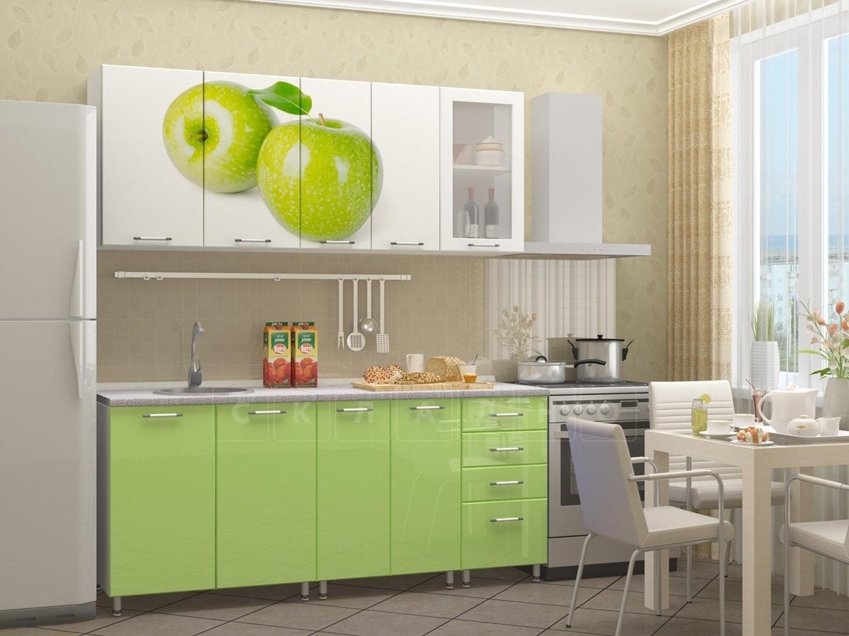 Кухня с фотопечатью Яблоко 1,8 м фото 1 | интернет-магазин Складно