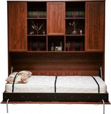 Подъемная кровать 90 см горизонтальная с полками К03 фото 2 | интернет-магазин Складно