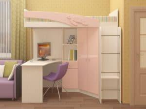 Кровать чердак Бемби с письменным столом  18590  рублей, фото 1 | интернет-магазин Складно