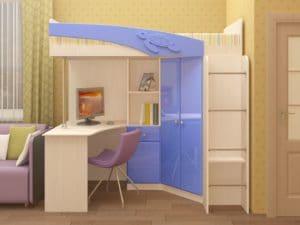 Кровать чердак Бемби с письменным столом 18590 рублей, фото 3 | интернет-магазин Складно
