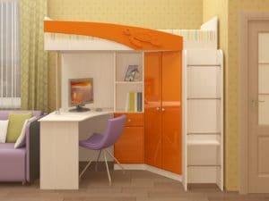 Кровать чердак Бемби с письменным столом 18590 рублей, фото 4 | интернет-магазин Складно