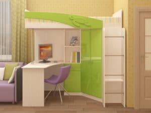 Кровать чердак Бемби с письменным столом 18590 рублей, фото 2 | интернет-магазин Складно