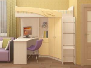 Кровать чердак Бемби с письменным столом 18590 рублей, фото 5 | интернет-магазин Складно