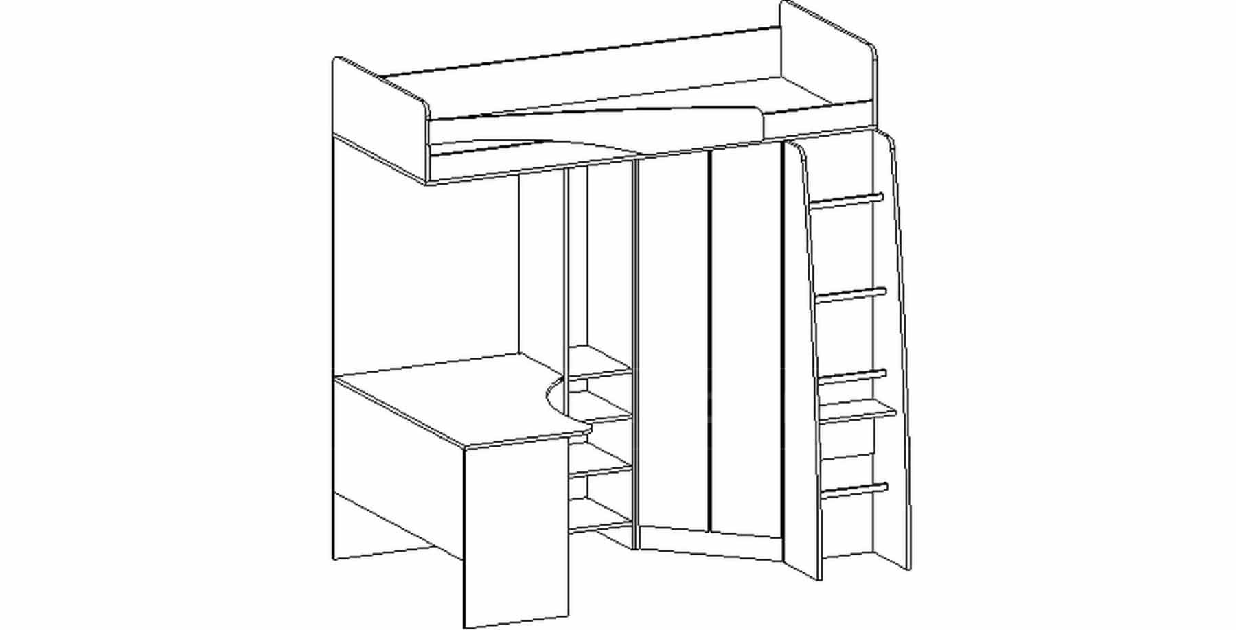 Кровать чердак Бемби с письменным столом фото 9 | интернет-магазин Складно