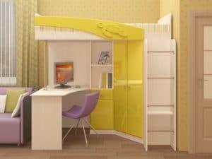 Кровать чердак Бемби с письменным столом 18590 рублей, фото 6 | интернет-магазин Складно