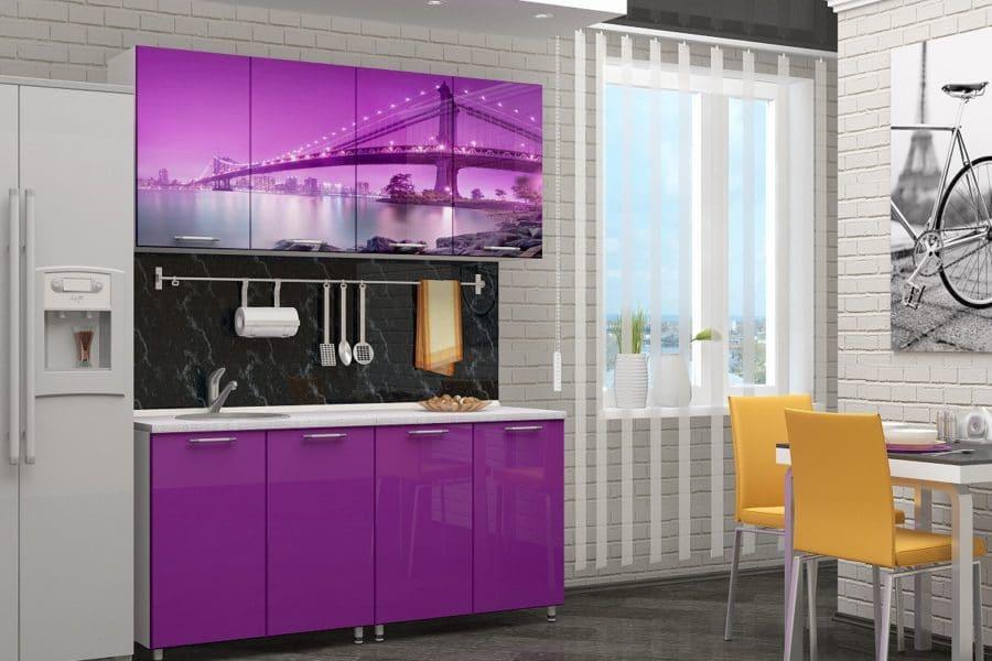 Кухня с фотопечатью Бридж 160см фото | интернет-магазин Складно