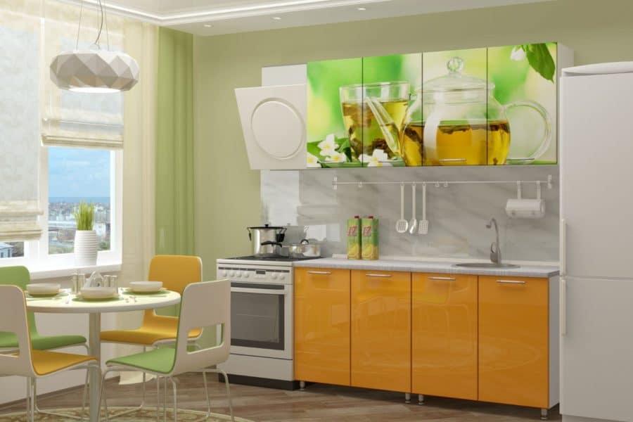 Кухня с фотопечатью Чайник 160см фото | интернет-магазин Складно
