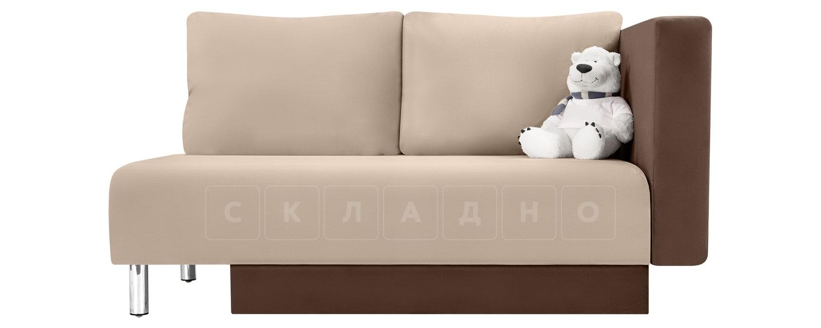 Детский диван Лион велюр бежевый фото 3 | интернет-магазин Складно