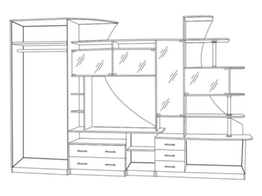 Стенка Гамма-5 с левым шкафом фото 2 | интернет-магазин Складно