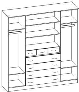 Шкаф распашной Карина-7 четырехстворчатый 28600 рублей, фото 2   интернет-магазин Складно