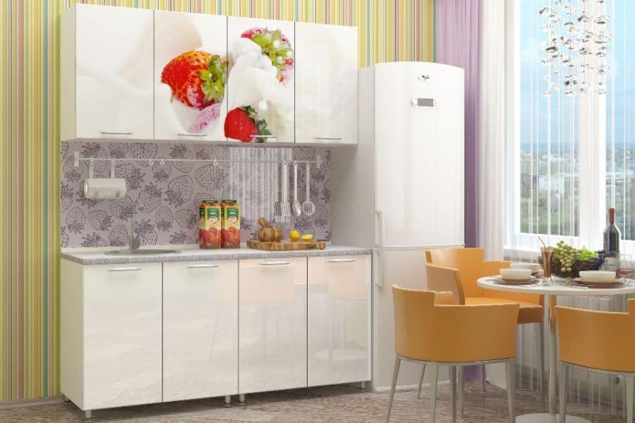 Кухня с фотопечатью Клубника 160см фото | интернет-магазин Складно