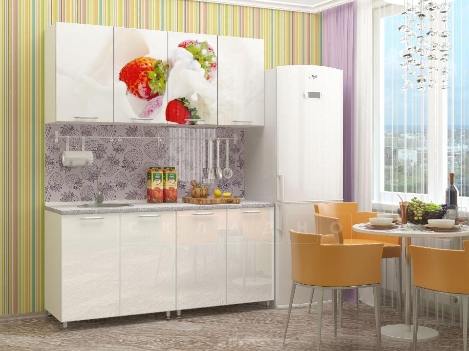 Кухня с фотопечатью Клубника 160 см фото 1 | интернет-магазин Складно