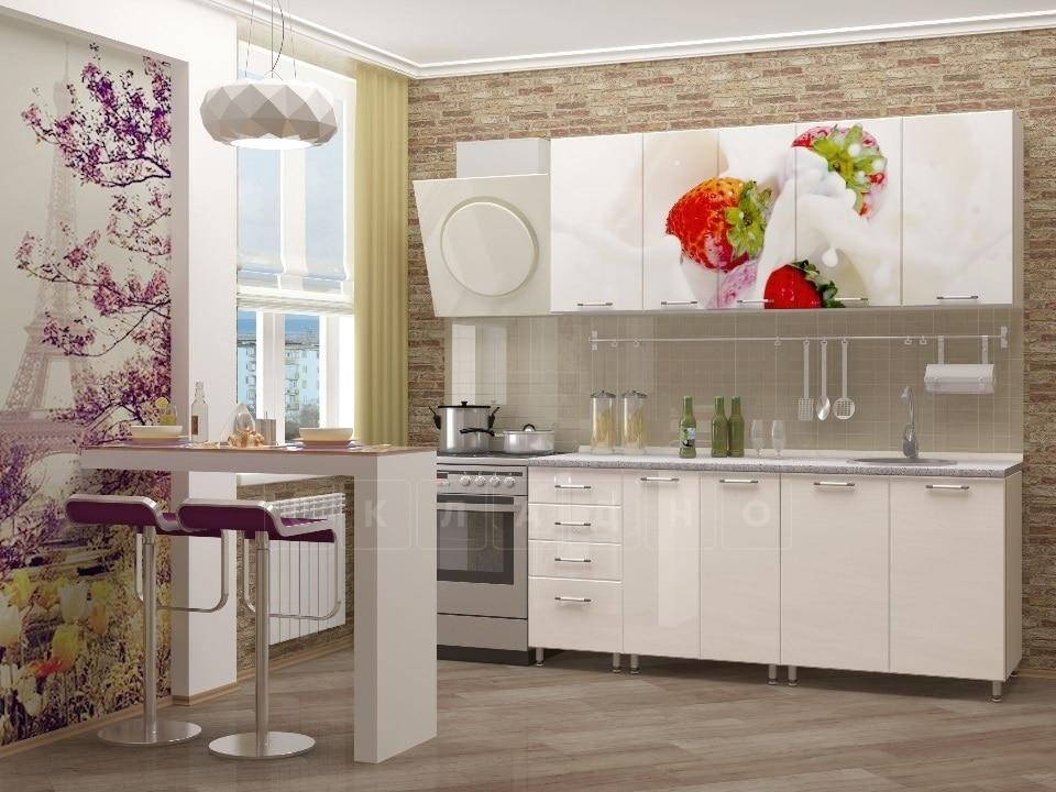 Кухня с фотопечатью Клубника 1,8 м фото 2 | интернет-магазин Складно