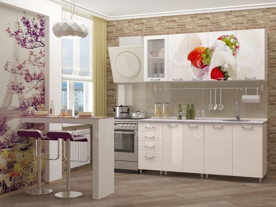 Кухня с фотопечатью Клубника 1,8 м фото 1 | интернет-магазин Складно